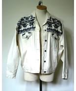 CAROLE LITTLE Sport Wms Cream Jean Jacket Beade... - $9.79