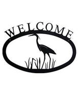 Wrought Iron Welcome Sign Heron Silhouette Small Outdoor Plaque Home Dec... - $21.99
