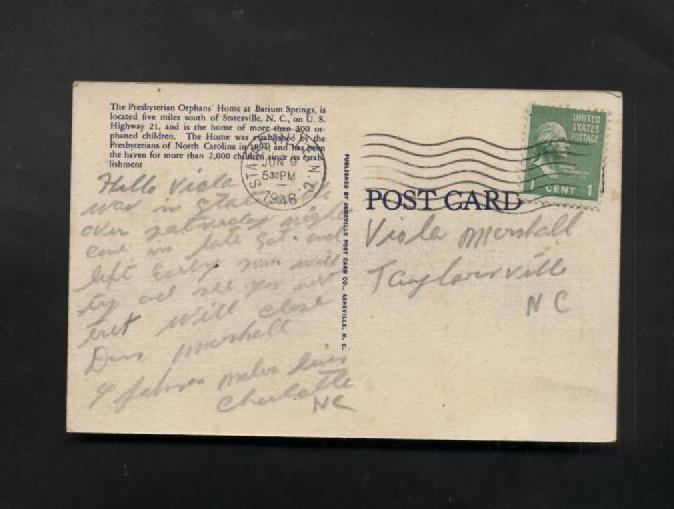 Vintage Postcard Linen 1946 Presbyterian Orphan Home Barium Springs NC