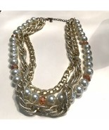 Triple Strand Chunky Chains Faux Pearls Necklace GOLDTONE K726 - $15.19