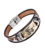 Fashion 12 zodiac signs Bracelet With Stainless Steel Clasp Leather Brac... - $17.35