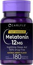 Melatonin 12 Mg 180 Tablets Nighttime Sleep Aid Natural Berry Flavor (Brand New) - $13.14