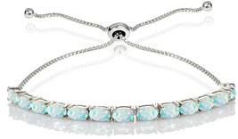 GemStar USA Sterling Silver 5x3mm Created White Opal Oval-Cut Bolo Pull-... - $120.86