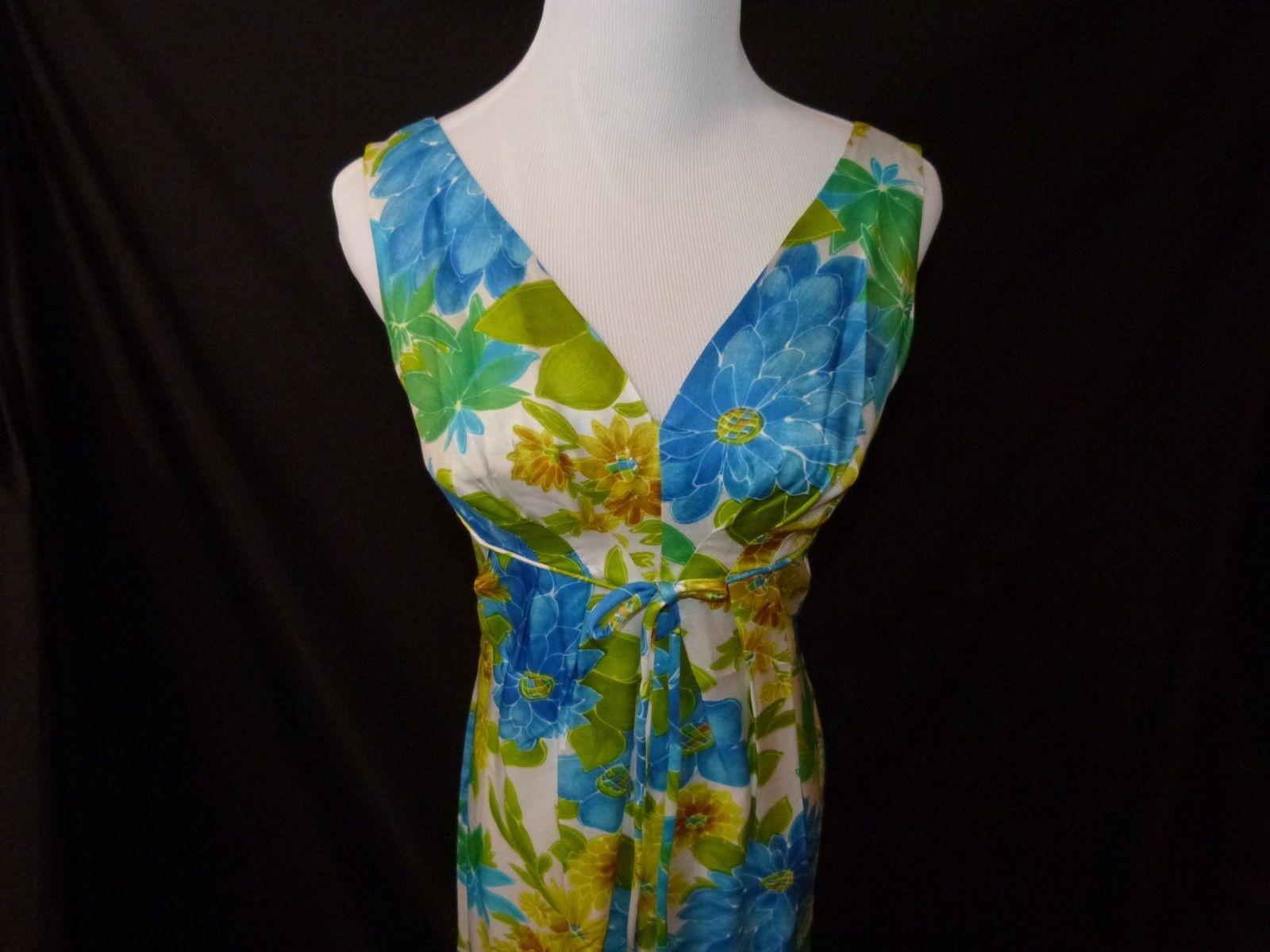 Vtg LAUHALA Hawaiian Hostess Dress Ladies Blue Green Gold Floral S