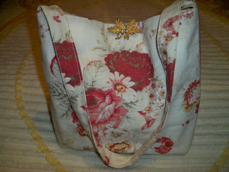 SALE! Handmade Vintage Waverly Norfolk Roses Fabric Tote Purse Oak Leaf Pearl Br