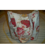 SALE! Handmade Vintage Waverly Norfolk Roses Fabric Tote Purse Oak Leaf ... - $32.99