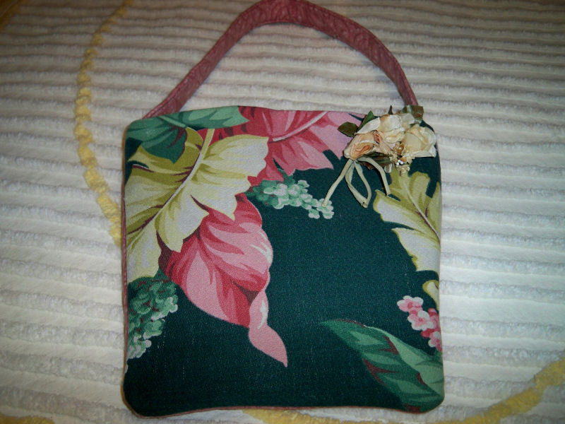 Vintage barkcloth purse tropical1
