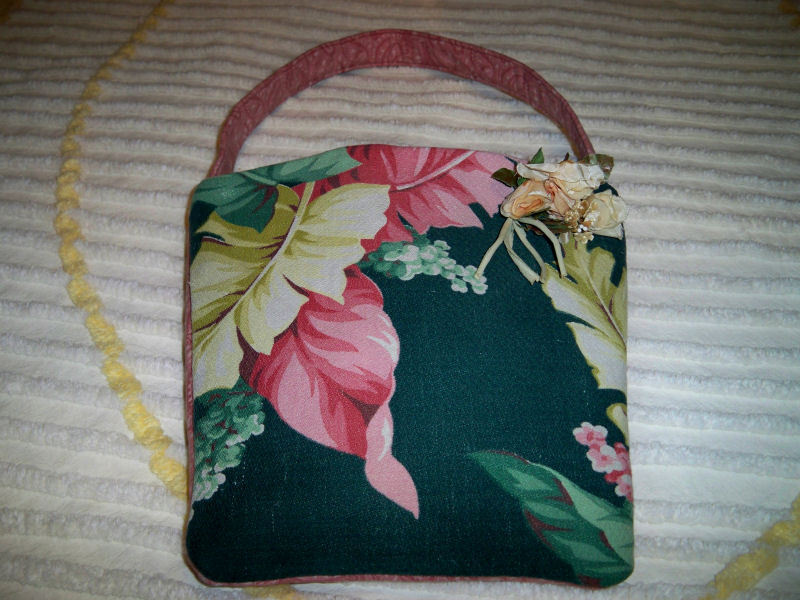 SALE! Handmade Vintage Tropical Barkcloth Market Tote Purse Millinery Floral Bro