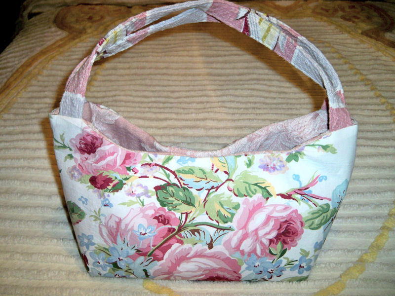 Vintage barkcloth purse floral1