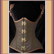 Renaissance Faux Leather Satin Buckle Clasp Under Bust Lace Up Steampunk Corset
