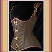 Renaissance Faux Leather Satin Buckle Clasp Under Bust Lace Up Steampunk Corset  image 2