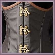 Renaissance Faux Leather Satin Buckle Clasp Under Bust Lace Up Steampunk Corset  image 3