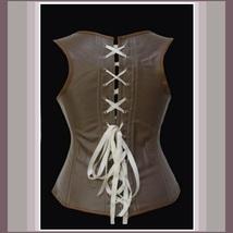 Renaissance Faux Leather Satin Buckle Clasp Under Bust Lace Up Steampunk Corset  image 4