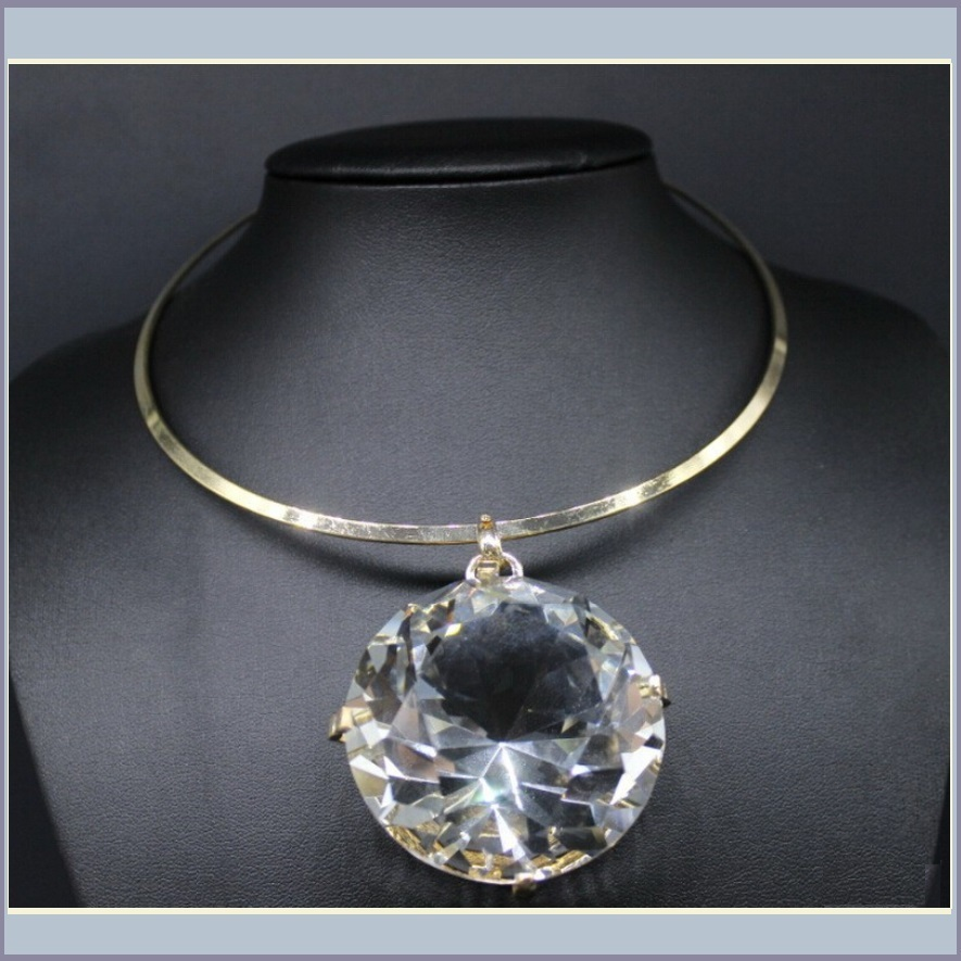 Gargantuous One Crystal Rhinestone Diamond Cut Glory Stone Choker Necklace