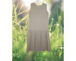 1960s vintage mod beige stripe flapper dress size medium large 8 10 - $69.99