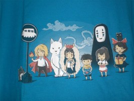 "TeeFury Ghibli XLARGE ""Waiting for the Bus"" Character Montage Shirt TURQ... - $21.00"