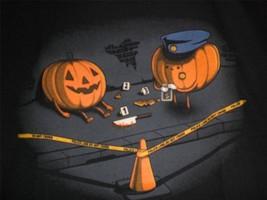 "TeeFury Halloween YOUTH MEDIUM ""Crime Scene"" The Pumpkin Carver Did It B... - $11.00"