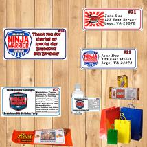 American Ninja Warrior Birthday 1 Sheet Address Water Bottle Labels Personalized - $5.75