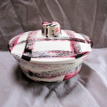 Vintage 1940's-50's California Pottery Pink & Black Plaid Covered Vegeta... - $14.96