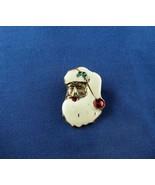 Vintage Christmas Pin Enameled Goldtoned Santa Free Shipping - $9.05