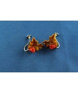 Vintage CHRISTMAS Tan & Red Holly Leaves & Berries Screw Back Earrings - $8.60