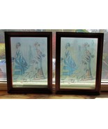 Pair of French Fashion Women on Glass, Milson & Louis, Framed, Hand Colored - $17.77