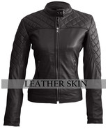 Leather Skin Women Black Quilted Sexy Stylish Premium Genuine Leather Ja... - $179.99