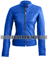 Leather Skin Women Blue Quilted Sexy Stylish Premium Genuine Leather Jacket - $179.99