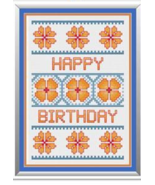Floral Birthday Card cross stitch chart Cross Stitch Cards - $6.30