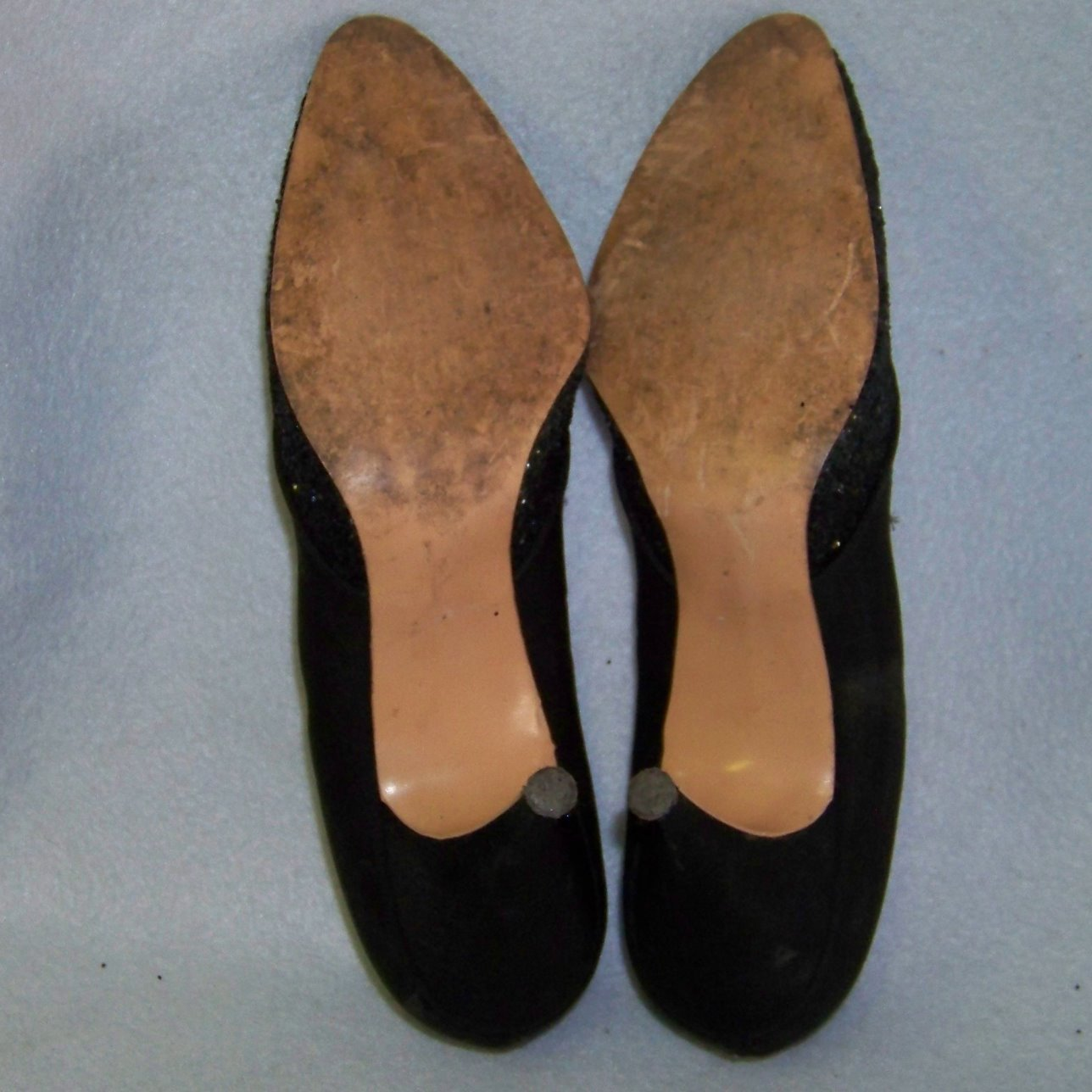 Adorably yours 50s stiletto heels black glitter 6.5 AA