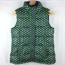 Gap Kids Girls Puffer Vest XL 14 16 Navy Blue Green Polka Dot Thick Quilted - $29.69