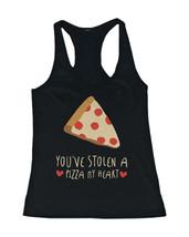 Women's Cute Tanks - Stolen a Pizza My Heart Black Cotton Sleeveless Tan... - $14.99+