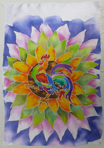 Akimova: ROOSTER, silk painting, washable, art on the wall or on the sofa - $15.50