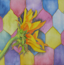 Akimova: SUNFLOWER, silk painting, art on the wall or on the sofa - $12.50