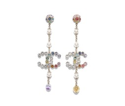 100% AUTH NEW CHANEL 2019 Gold Large CC MULTICOLOR Crystal Dangle Drop Earrings