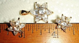 VTG 14K OVER 925 STERLING SILVER STAR BRIDAL DIAMONIQUE NECKLACE EARRING... - $237.99