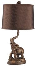 Bronze Finish Elephant Art Table Lamp Linen Dru... - $133.64
