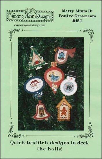 Merry Minis II Festive ornaments christmas cross stitch chart Waxing Moon Design