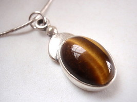 LAST ONE TIGERS EYE 925 Sterling Silver Necklace New best offer - €16,42 EUR