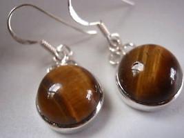 Tiger Eye Sphere 925 Silver Dangle Earrings India New - $12.86