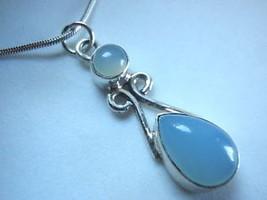 Chalcedony Slim Teardrop Sterling Silver Necklace Corona Sun Jewelry Blue - €14,88 EUR