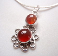 Carnelian Infinity 925 Sterling Silver Pendant Symbolizes Forever Love New - $7.82