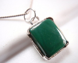 Four-Pronged Malachite Necklace 925 Sterling Silver Rectangle New - $21.11