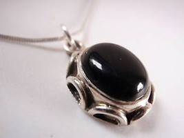 Black Onyx Rope Brim Sterling Silver Necklace India New - €14,88 EUR