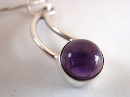 Curved Amethyst 925 Sterling Silver Necklace New India - €14,88 EUR
