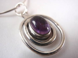 Amethyst Dbl Hoop Sterling Silver Necklace India New - €12,76 EUR
