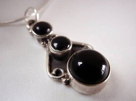 New BLACK ONYX 925 Sterling Silver Necklace Corona Sun Jewelry New - €14,95 EUR
