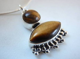 Tiger Eye Tribal Sterling Silver Necklace India New - €14,10 EUR