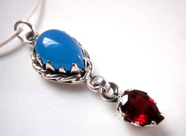 Chalcedony and Faceted Red Garnet 925 Sterling Silver Necklace New - $24.81