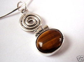 Spiral Tiger Eye 925 Sterling Silver Necklace India New - $18.60